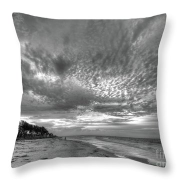 Sanibel Island Sunrise In Black And White Throw Pillow
