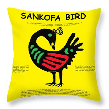 Sankofa Bird Of Knowledge Throw Pillow