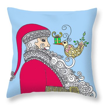 Throw Pillow featuring the drawing Santa And Bird On Blue by Caroline Sainis