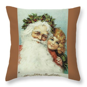 Santa And His Little Admirer Throw Pillow