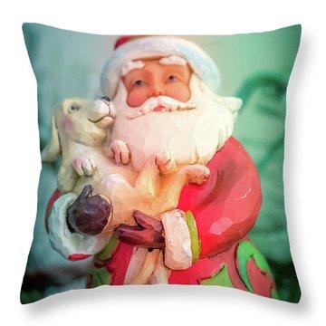 Santa And Lab Pup Throw Pillow