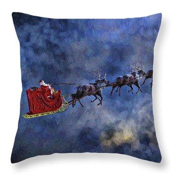 Santa And Reindeer Throw Pillow by Dave Luebbert