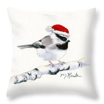 Santa Bandit - Chickadee Throw Pillow