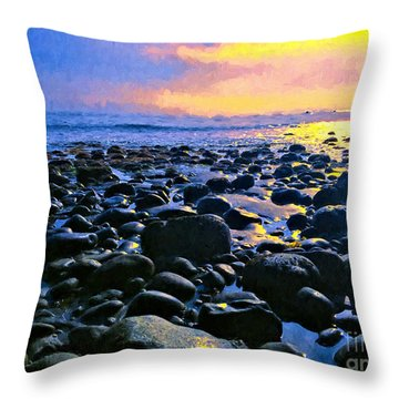 Santa Barbara Beach Sunset California Throw Pillow