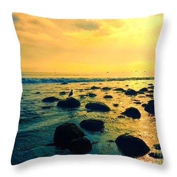 Santa Barbara California Ocean Sunset Throw Pillow