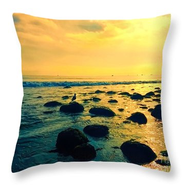 Santa Barbara California Ocean Sunset Throw Pillow