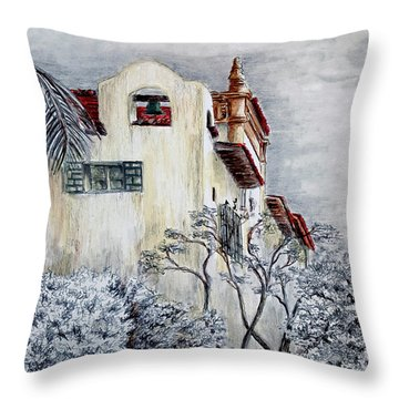 Santa Barbara Courthouse Bell Tower Throw Pillow