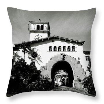 Santa Barbara Courthouse Black And White-by Linda Woods Throw Pillow