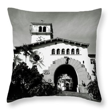 Santa Barbara Courthouse Black And White-by Linda Woods Throw Pillow by Linda Woods