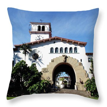 Santa Barbara Courthouse -by Linda Woods Throw Pillow by Linda Woods