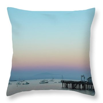 Santa Barbara Pier At Dusk Throw Pillow