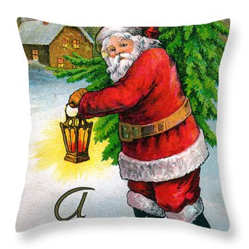 Santa Carrying A Christmas Tree Throw Pillow