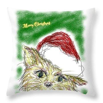 Santa Cat Throw Pillow
