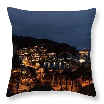 Santa Catalina Island Nightscape Throw Pillow by Angela A Stanton