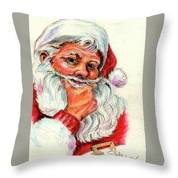Santa Checking Twice Christmas Image Throw Pillow