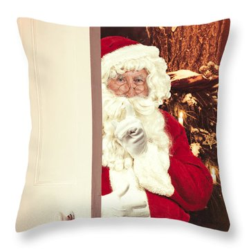 Santa Claus At Open Christmas Door Throw Pillow