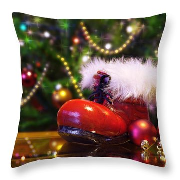 Santa-claus Boot Throw Pillow by Carlos Caetano