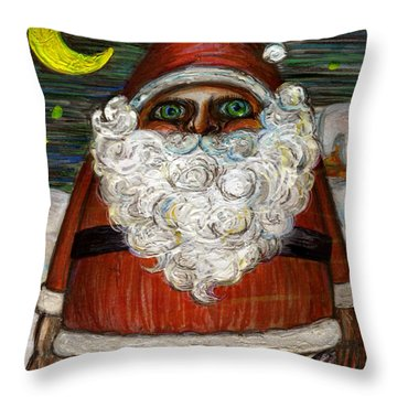 Santa Claus By Akiko Throw Pillow
