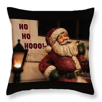 Santa Claus Christmas Card Throw Pillow by Lois Bryan