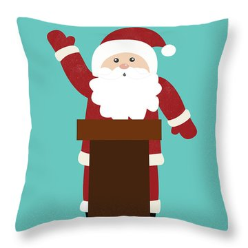 Santa Clinches The Nomination- Art By Linda Woods Throw Pillow