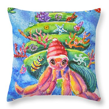 Throw Pillow featuring the painting Santa Crab by Li Newton