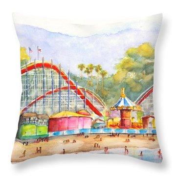 Santa Cruz Beach Boardwalk Throw Pillow