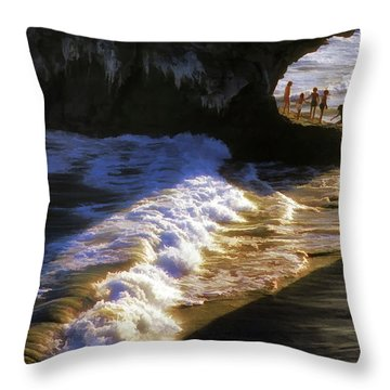 Santa Cruz 'bridge' California Coastline Throw Pillow