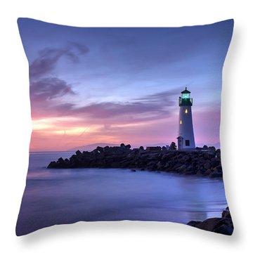 Santa Cruz Harbor Mouth Sunrise Throw Pillow