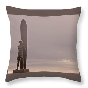 Santa Cruz Santa Surfer  Throw Pillow