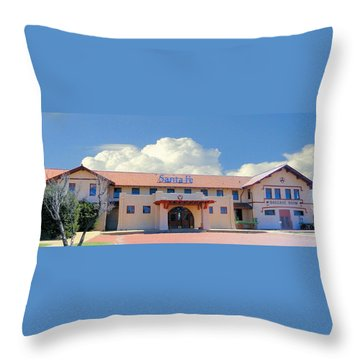 Santa Fe Depot In Amarillo Texas Throw Pillow by Janette Boyd