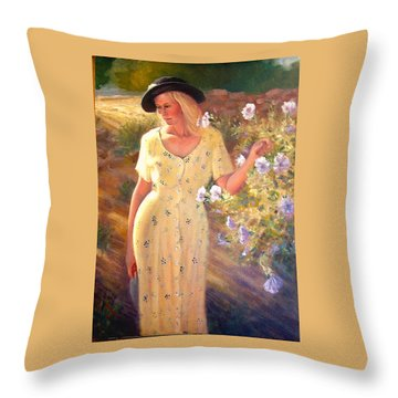 Throw Pillow featuring the painting Santa Fe Garden 3   by Donelli  DiMaria