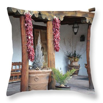 Throw Pillow featuring the photograph Santa Fe Red Chili Ristra Porch by Andrea Hazel Ihlefeld
