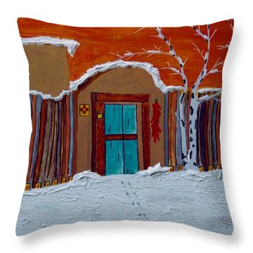 Santa Fe Snowstorm Throw Pillow by Joseph Frank Baraba