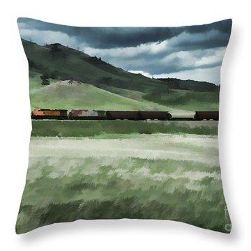 Santa Fe Train Throw Pillow by Erica Hanel