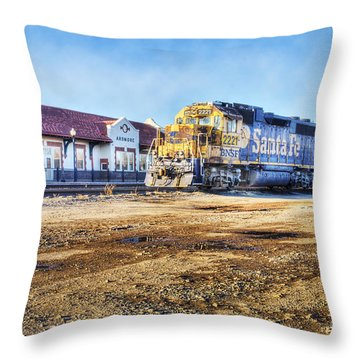 Throw Pillow featuring the photograph Santa Fe Train In Ardmore by Tamyra Ayles