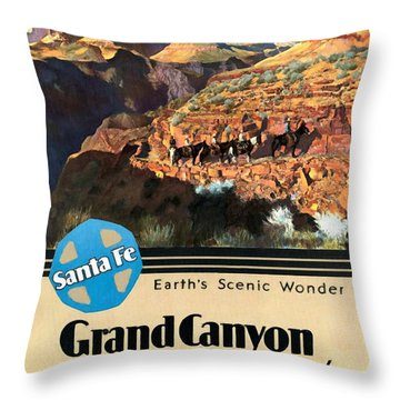 Santa Fe Train To Grand Canyon - Vintage Poster Restored Throw Pillow