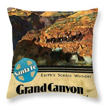 Santa Fe Train To Grand Canyon - Vintage Poster Vintagelized Throw Pillow