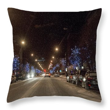 Santa Visits Bradford Throw Pillow by Wade Aiken
