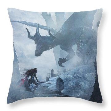 Santa Georgina Vs The Dragon Throw Pillow