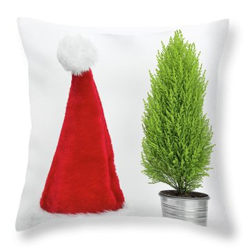 Santa Hat And Little Christmas Tree Throw Pillow