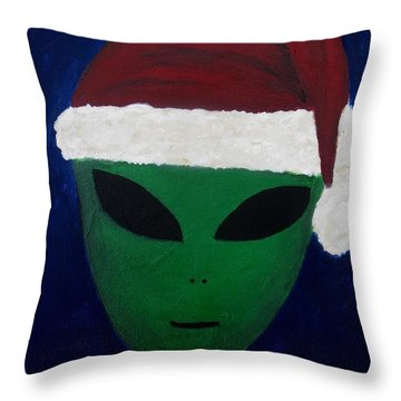 Throw Pillow featuring the painting Santa Hat by Lola Connelly
