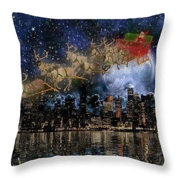 Santa In The City Throw Pillow