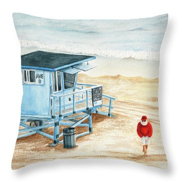 Santa Is On The Beach Throw Pillow