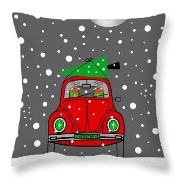 Santa Lane Throw Pillow
