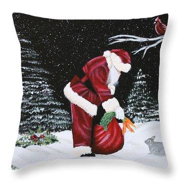 Santa Loves All Creatures Throw Pillow