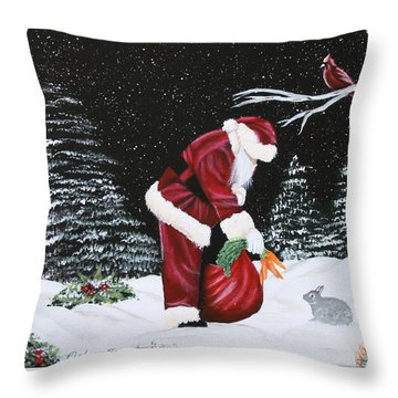 Santa Loves All Creatures Throw Pillow