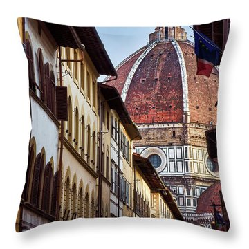 Santa Maria Del Fiore From Via Dei Servi Street In Florence, Italy Throw Pillow