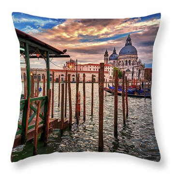 Santa Maria Della Salute From The Docks In Venice, Italy Throw Pillow