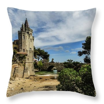 Santa Marta Beach In Cascais, Portugal Throw Pillow