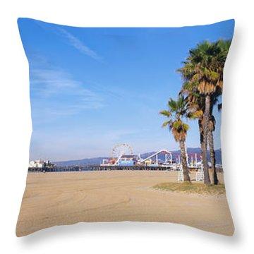 Santa Monica Beach Ca Throw Pillow by Panoramic Images